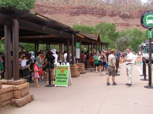 The line for the shuttle bus at Zion National Park, courtesy of NPS