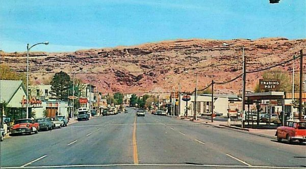 postcard of downtown Moab Utah 1950s