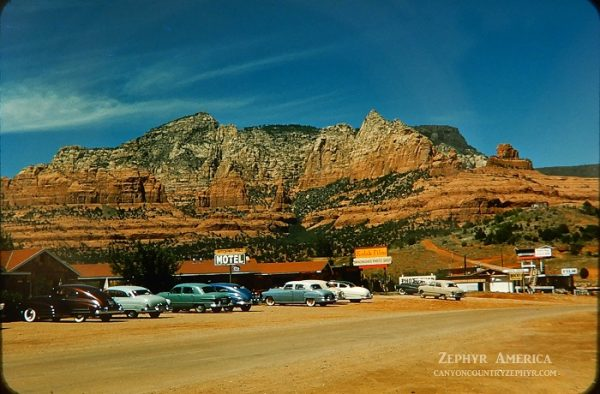 "And it's not hard to imagine Bluff's future radically different from today because this was Sedona in 1952. Unimaginable transformations can take place over decades or just a few years, depending on the ""vision"" of real-estate developers, their funding sources and simpatico lawmakers. The photo was taken by Herb Ringer, who lovingly documented the post-war West, and published by the Canyon Country Zephyr as part of its series ""Zephyr America: A Lens on the Past."" (Canyon Country Zephyr)"
