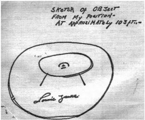 Lonnie Zamora sketch of alien craft with strange symbol
