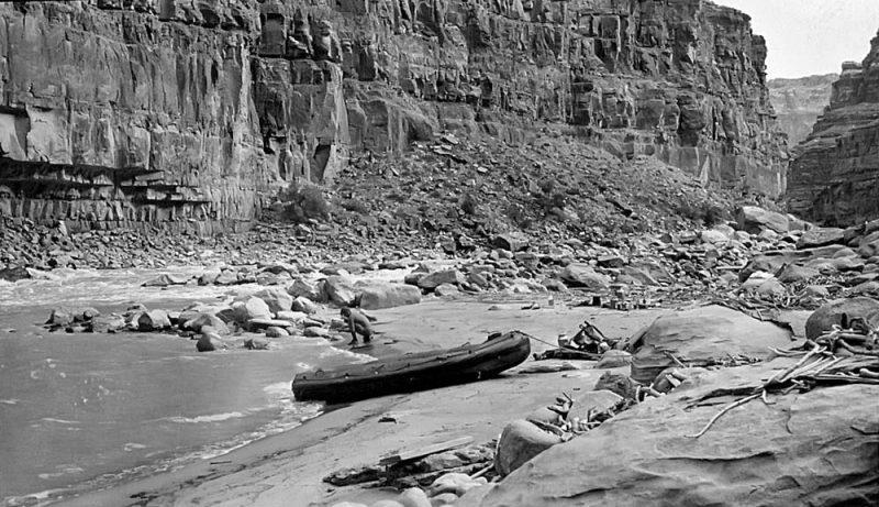 1949 Camp at the base of Dark Canyon Rapid