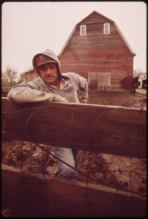 John Dolezal stands in rain on his farm near Bee, Nebraska. May, 1973. Photo by Charles O'Rear