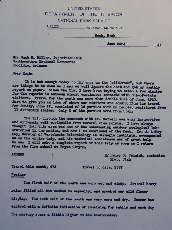 page one of Hank Schmidt's monthly report June 1941