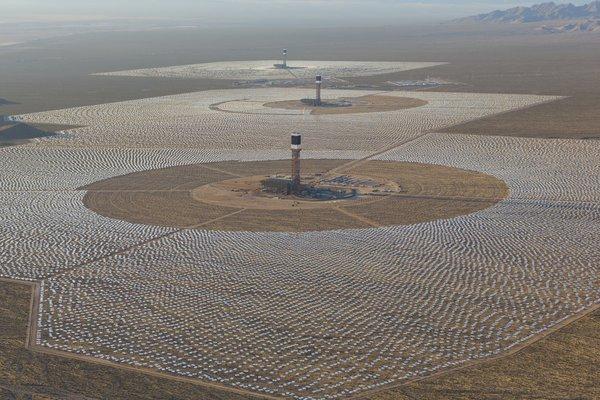 aerial of Ivanpah Solar Plant. Mojave Desert, California