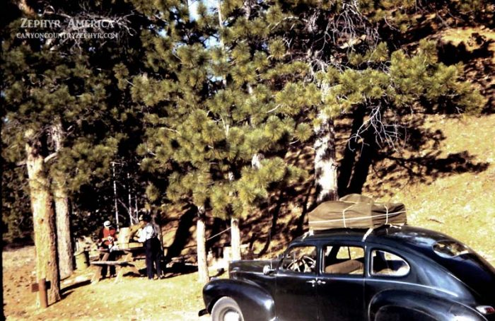 Herb's '41 Lincoln Zephyr at Hope Valley, late 1945. Photo by Herb Ringer
