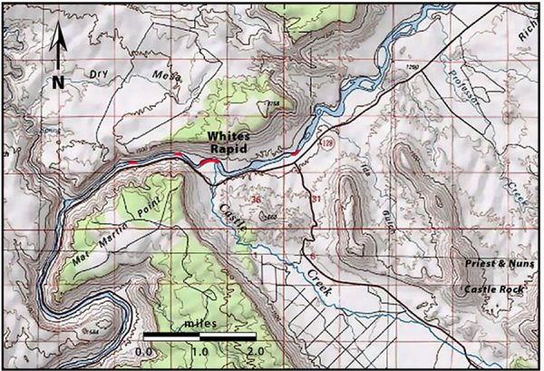 Map showing White's Rapid and Castle Creek