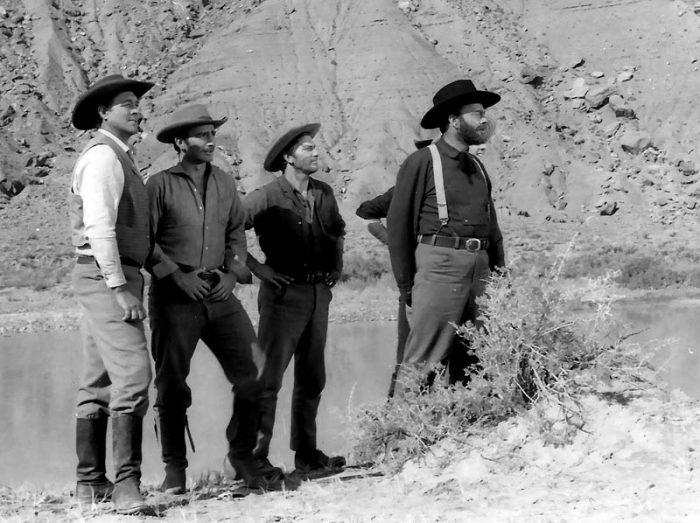 (L to R): Actors: Ben Johnson, James Drury, L.Q. Jones and John Beals. (K. Ross collection)