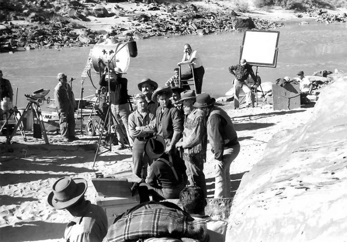 Film crew waiting on actors to get their lines right (K. Ross collection)