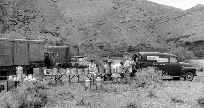 Moab caterers all set up for chow time. (K. Ross collection)
