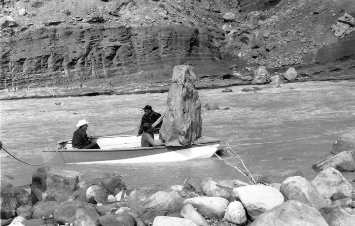"Fake fiberglass ""rock"" on board ready to be placed in the river. (K. Ross collection)"