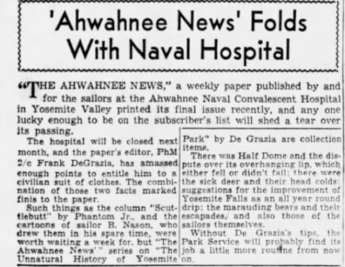 The San Francisco Examiner Noted the Passing of The Ahwahnee News. Nov 25, 1945