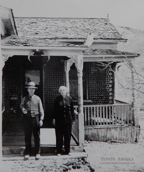 Joseph and Sadie Ringer in front of the Bottle House. Photo by Herb Ringer.