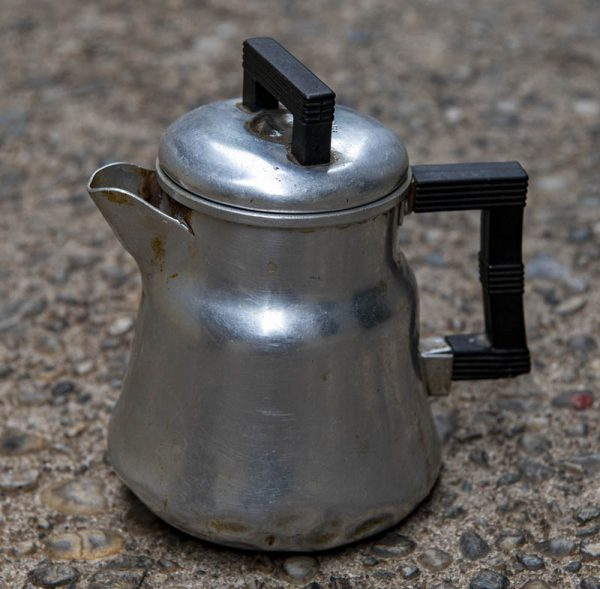 Ancient, battle-scarred family relic – The Famous Wear-Ever Coffee Pot. Photo by Paul Vlachos