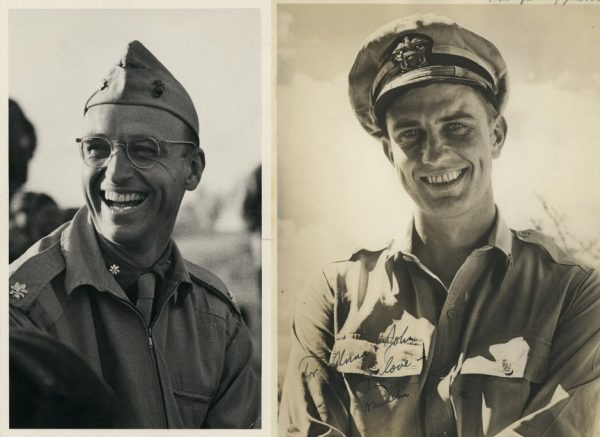 James Roosevelt (left) and Franklin Roosevelt Jr (Right) in uniform. c/o FDR Presidential Library