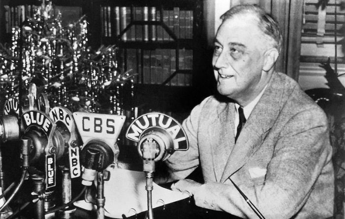 President Roosevelt Delivers his Radio Address. Dec 24, 1943. c/o Wikimedia Commons