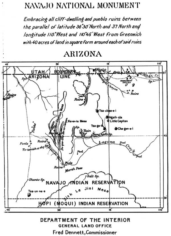 "The 1909 boundaries of Navajo National Monument were vague, consisting of ""all cliff-dwelling and pueblo ruins"" within a large geographic area"