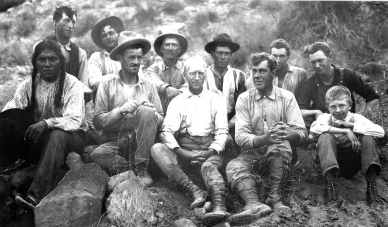 Some of the participants in the 1909 Rainbow Bridge expedition. Front row, left to right: Jim Mike, John Wetherill, Byron Cummings, William B. Douglass, and Malcolm Cummings. Back row: John English, Dan Perkins, Jack Keenan, Jean Rogerson, Neil Judd, and Don Beauregard.
