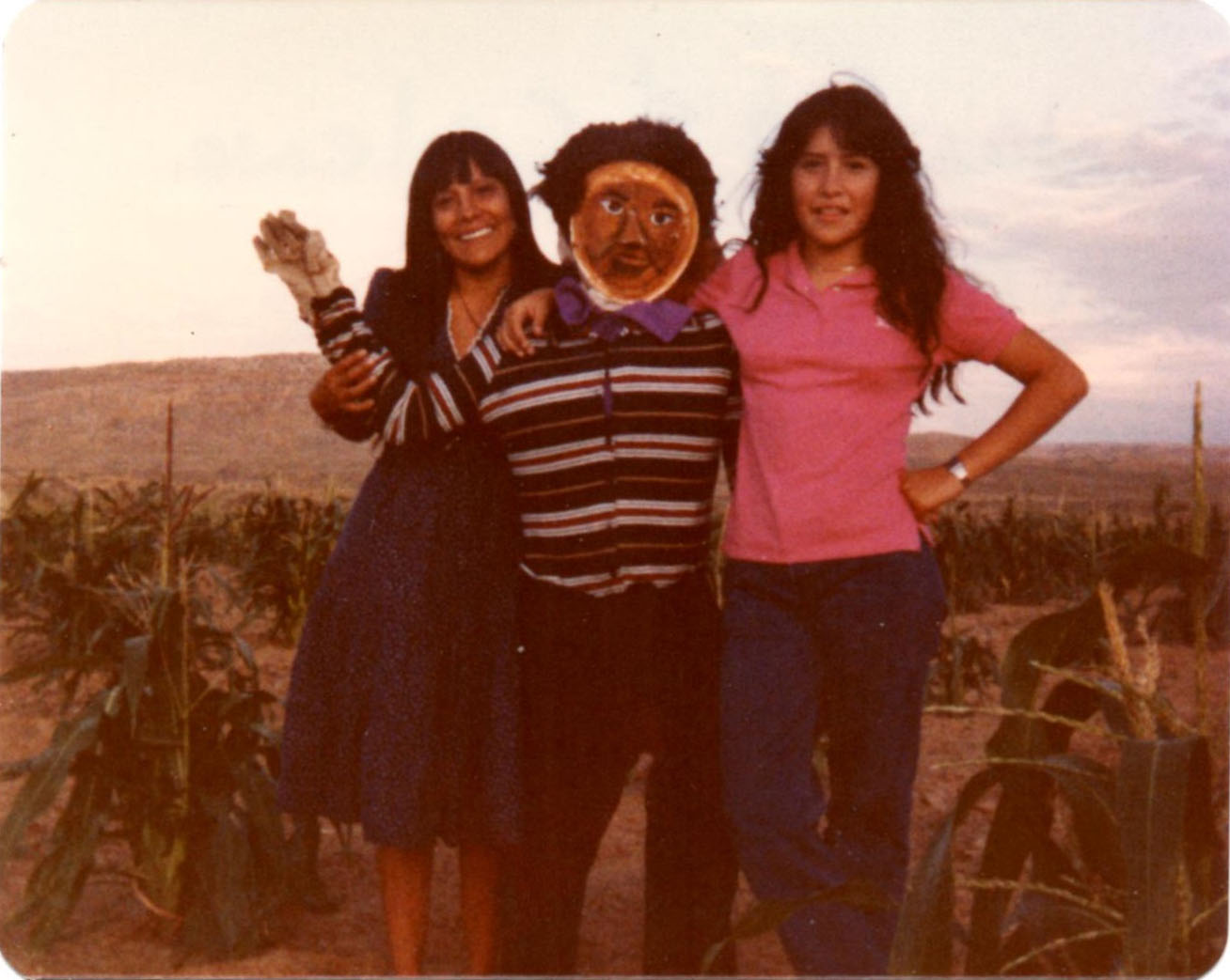 Janice and Sister Celena with my Father-in-Law's Scarecrow