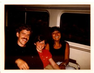 Janice, our son Jonathan, and Me on the Train in Boston