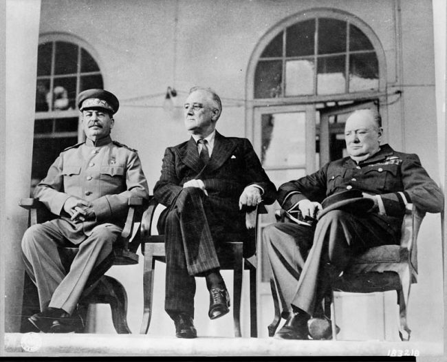 Roosevelt (center) with Stalin and Churchill at the Russian Embassy in Tehran during the Tehran Conference Nov 28-Dec 1, 1943