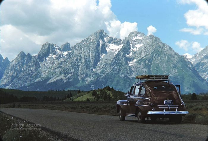 Hwy 191, South of Moran Junction. The Tetons, Wyoming. 1946. Photo by Herb Ringer