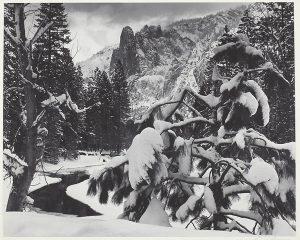 Sentinel Rock, Winter Dusk, Yosemite National Park, California. Photo by Ansel Adams, 1944