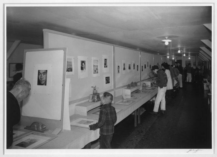 Adams' Photo Exhibit at Manzanar, January 1944. Photo c/o Library of Congress