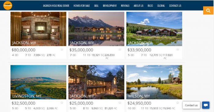 Real estate listings for Jackson, Wyoming.