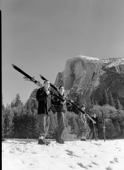 Navy Men with Skis in Front of Half Dome. c/o NPS