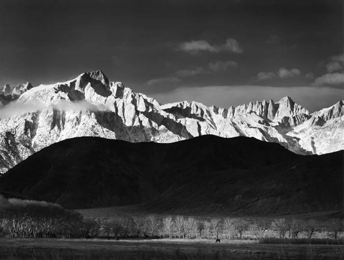 Winter Sunrise, Sierra Nevada from Lone Pine California. Photo by Ansel Adams. c/o Ansel Adams Gallery