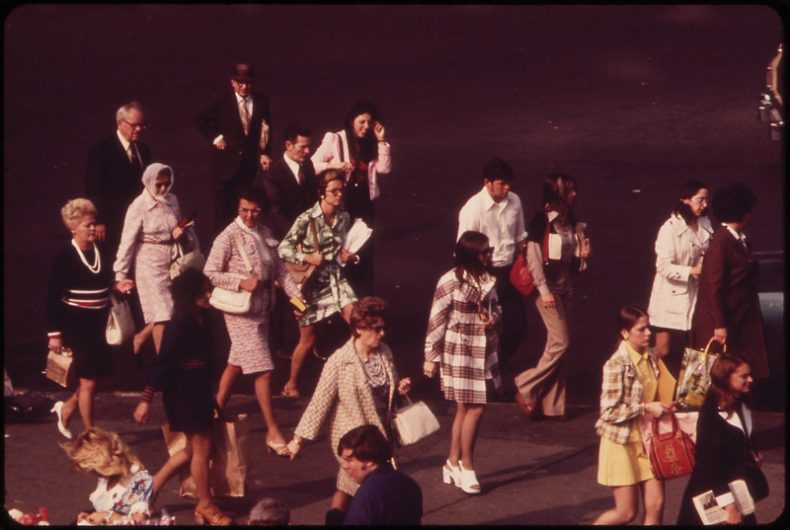 Commuters for the Staten Island Ferry. 1973. Photo by Wil Blanche. From the National Archives