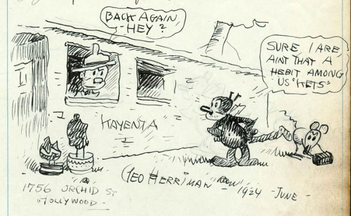 George Herriman used his famous cartoon character, Krazy Kat, as his alter ego when he revisited Kayenta in 1924