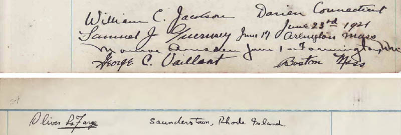 The 1921 signatures of Oliver La Farge and his traveling companions in the Wetherills' Kayenta guest register