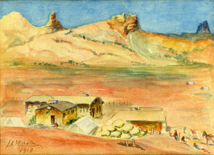 Lillian Wilhelm's 1913 painting of Kayenta looking north. The distinguishing sandstone formation in the upper center is known as The Toes.