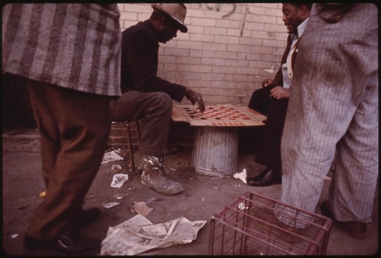 Playing Checkers. Chicago. 1973. Photo by John H White. From the National Archives