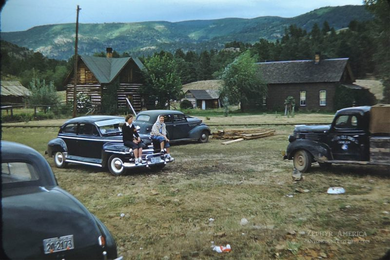 Girls waiting to meet the Durango-Silverton Train in Rockwood, CO. 1950. Photo by Herb Ringer