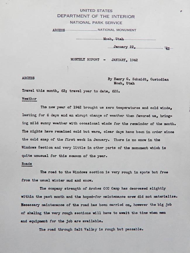Hank Schmidt's Monthly Report, January 1942. Page 1.