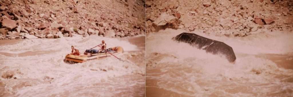 (Left) Rob doing great job in Little Niagara (flow is r. to l.) and (Right) ...then over. Credit: Bunny Sterin