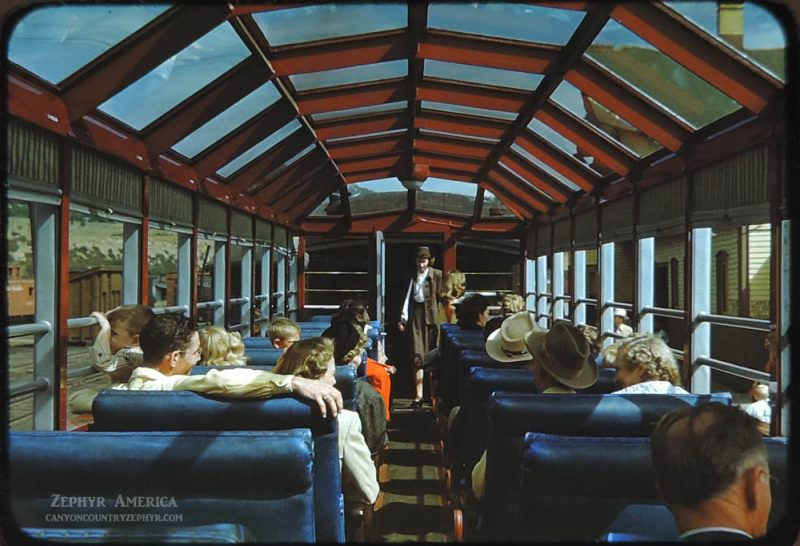 "Inside the ""Silver Vista"" car. 1950. Photo by Herb Ringer"
