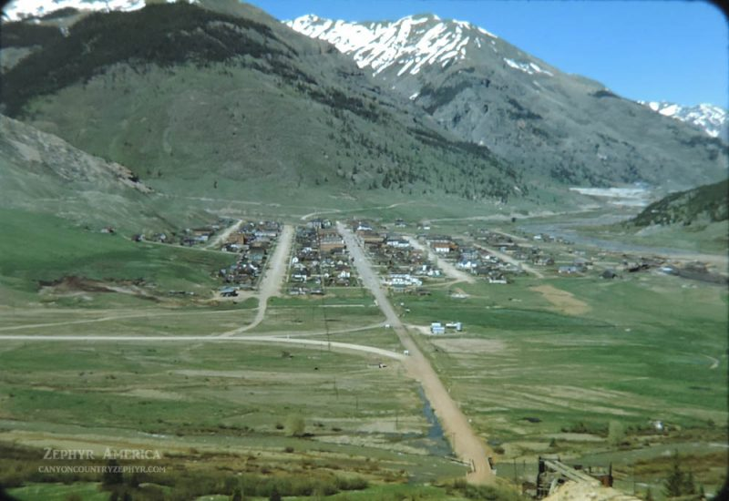 View of Silverton, CO from the mountain south of town. 1948. Photo by Herb Ringer