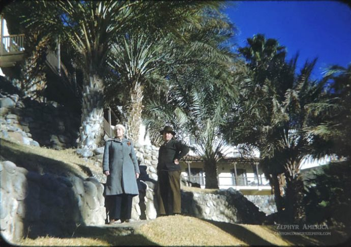 Sadie and Joseph Ringer in the gardens at the Furnace Creek Inn. 1948