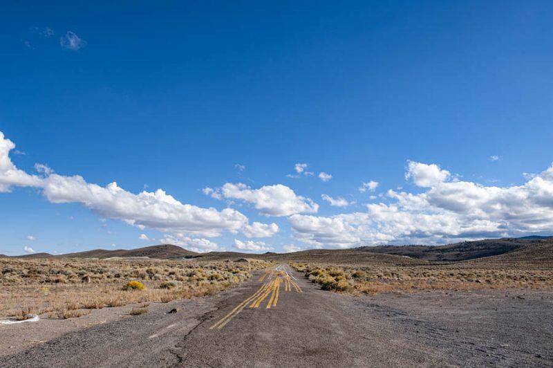 Near Coaldale, Nevada - road line painting practice. Photo by Paul Vlachos