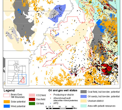 Oil potential in the Cedar Mesa/Bears Ears area, with the monument outlined in red.