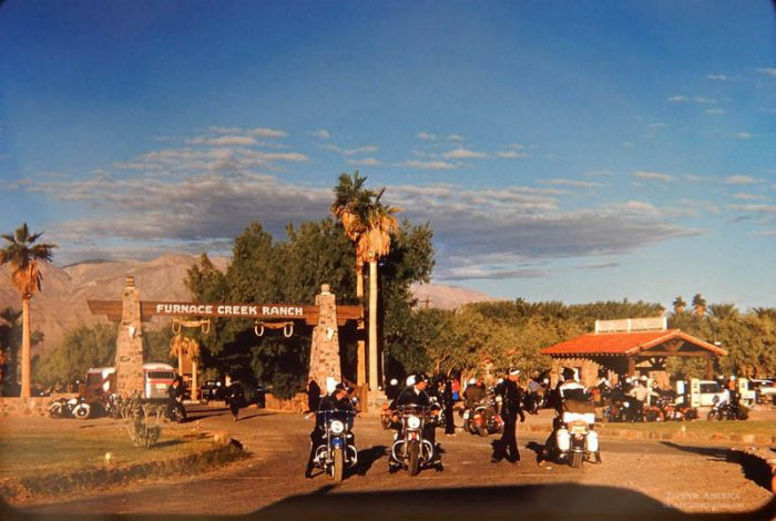 Furnace Creek Ranch during a Bike Rally. Herb Ringer. 1959