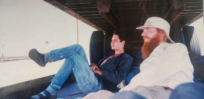 "David Whidden and Hugh Glass ""watching the world roll by"" on the way to Grand Junction. Photo by Timothy Knouff"