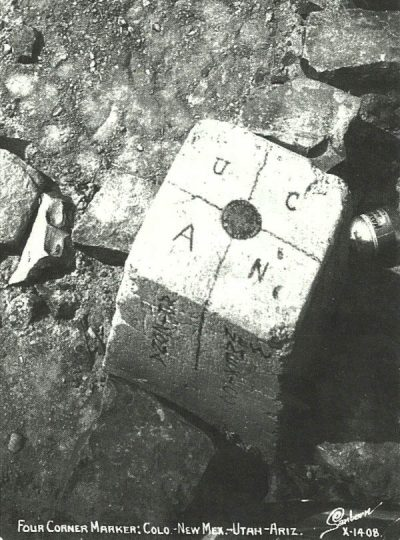 Four Corners marker in 1908 (Florence Daly photo)