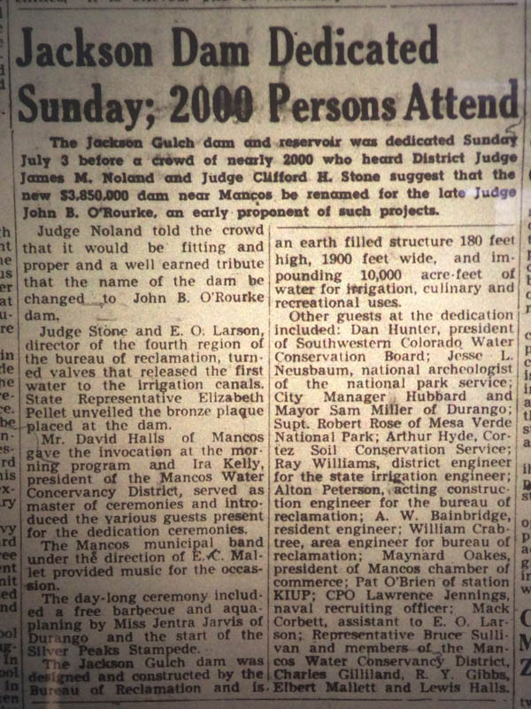 July 7, 1949 newspaper clipping about Jackson Dam Dedication