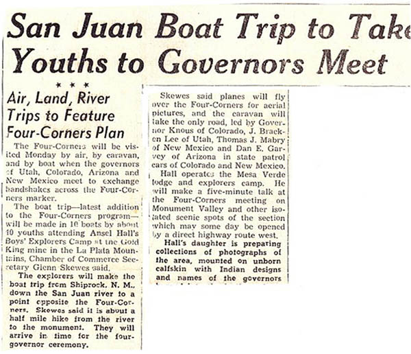 Newspaper clip re: upcoming Four Corners dedication & group arriving by boat