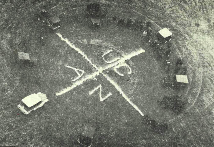 """Four Corners """"monument"""" as it looked in 1962; maintained by the Cortez Jeep Club (June & Bill Head photo)"""