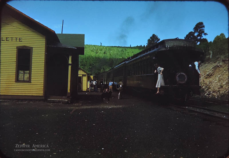 Villagers meet the train in the tiny mountain hamlet of Sublette. 1948. Photo by Herb Ringer